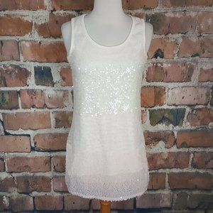 Mill & I Shell Tank Top Sequin Ivory Cream Pink S